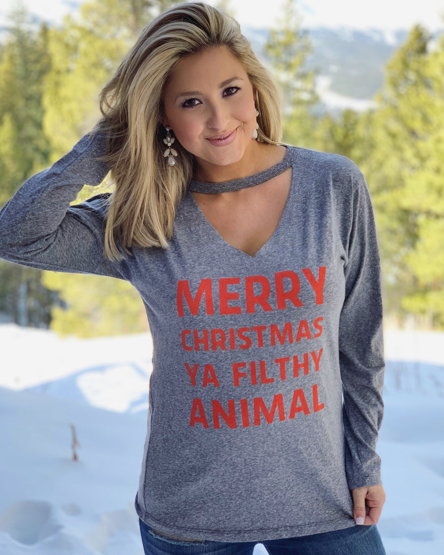 Merry Christmas Ya Filthy Animal Long-Sleeve Cut-Out Neckline Tee (Pre-Order)