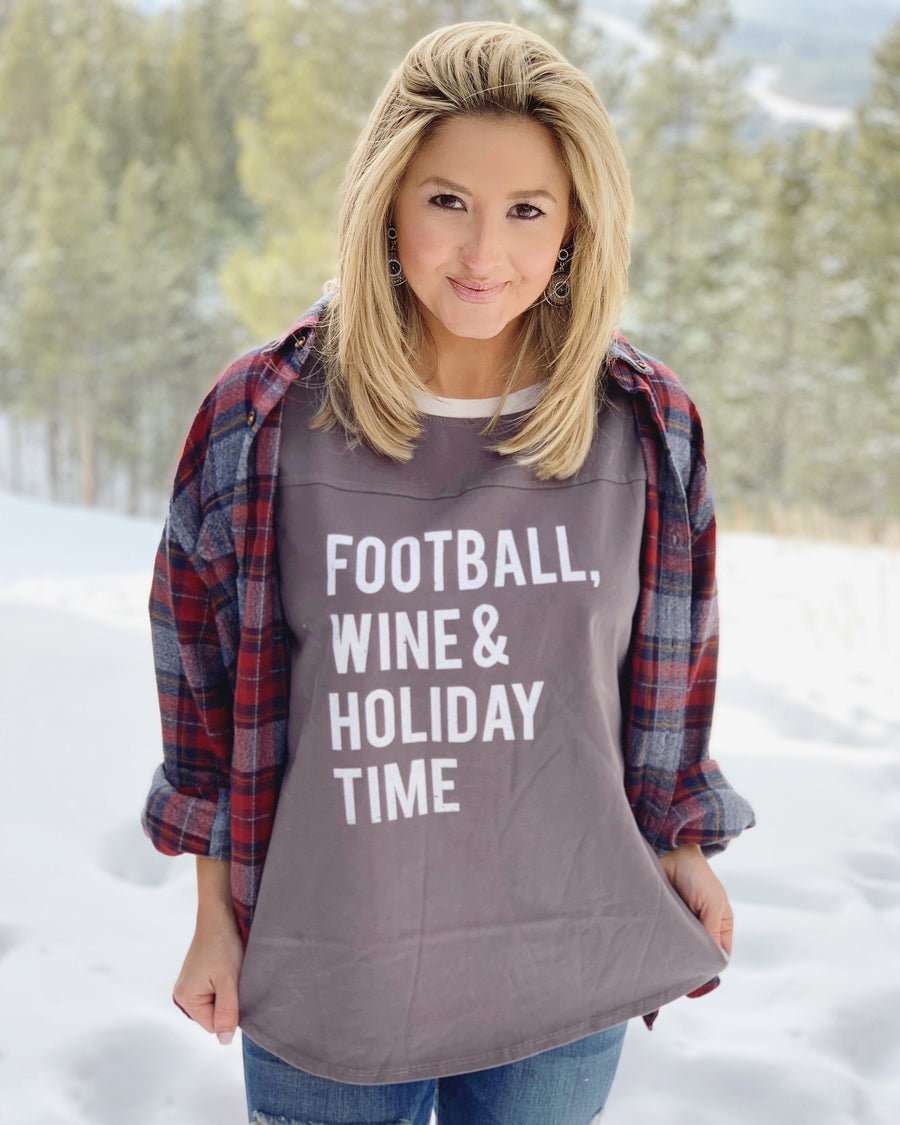 Football, Wine & Holiday Time Jersey Tee