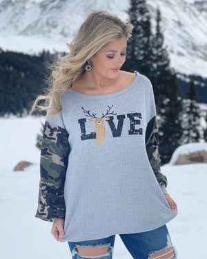 "Deer ""Love"" Thermal Waffle Knit Top With Camouflage Sleeves - Live Love Gameday®"