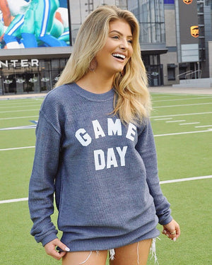 GAME DAY Oversized Ribbed Vintage-Washed Crew (Blue)