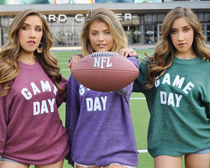 GAME DAY Oversized Ribbed Vintage-Washed Crew (Wine)
