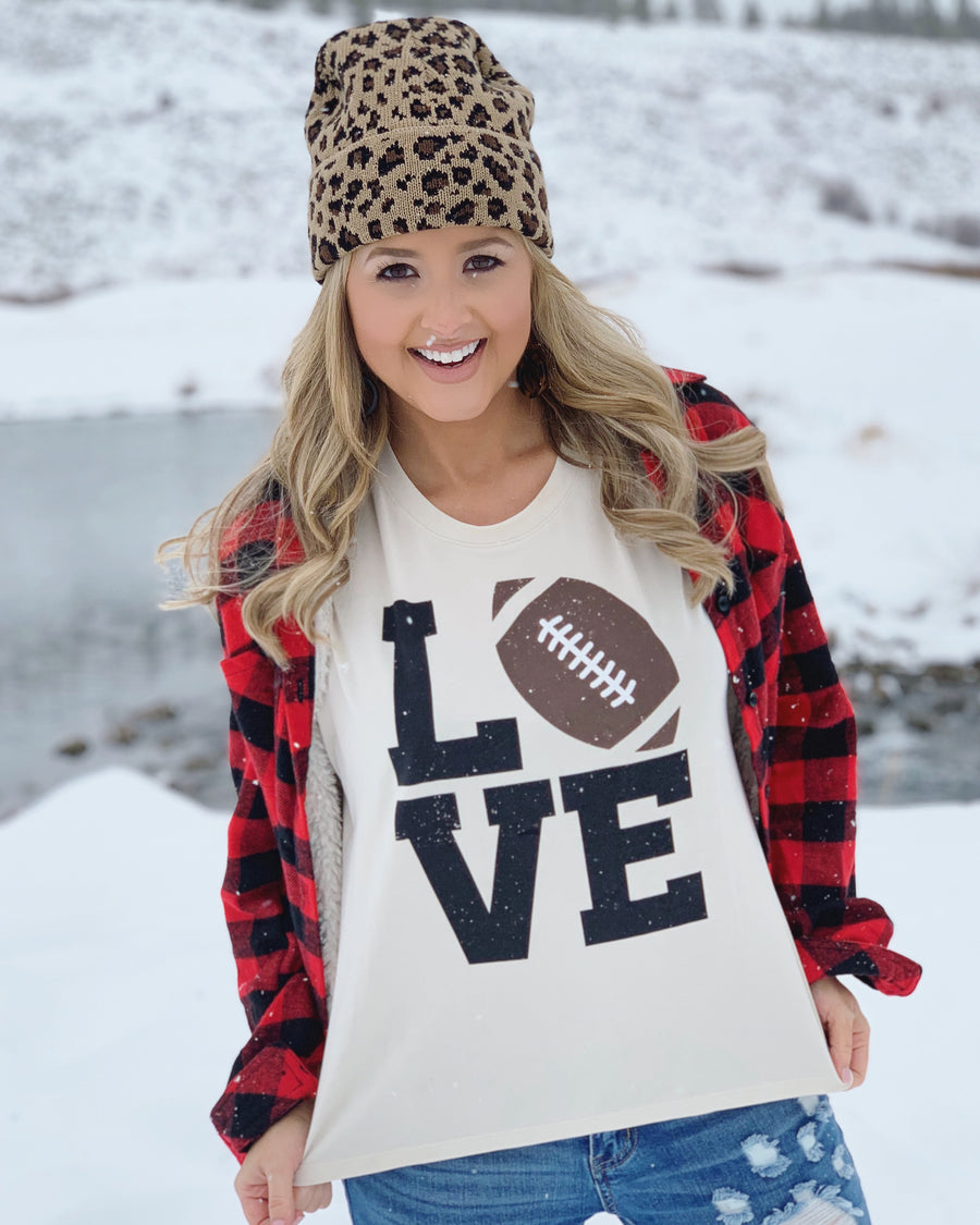 """Football"" Love Beige Modal Tee - Live Love Gameday®"