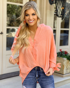 Light & Airy Button-Down Tie-Cuff Soft Beachy Blouse