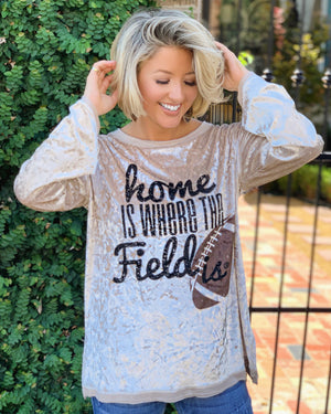 Football – Home Is Where The Field Is® – Crushed Velvet Long-Sleeve Top