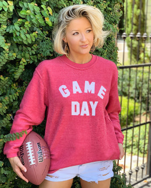GAME DAY Oversized Ribbed Vintage-Washed Crew (Red)