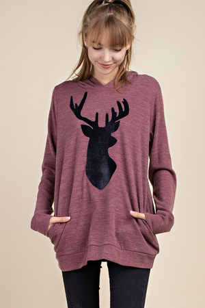 (BEST SELLER) Velvet Deer Hoodie Tunic With Pockets