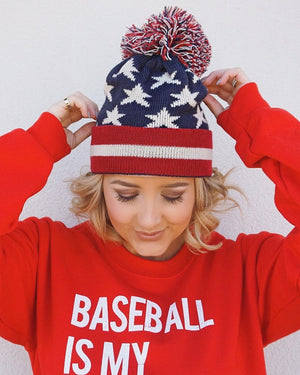 All-American Beanie With Pom (Two Color Options) - Live Love Gameday®