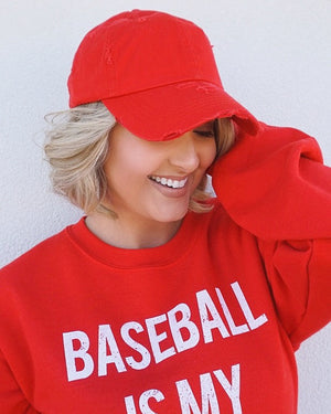 Distressed Red Baseball Cap With Ponytail/Messy Bun Hole - Live Love Gameday®