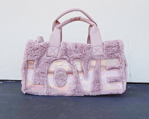 Metallic Plush Faux Fur Duffel