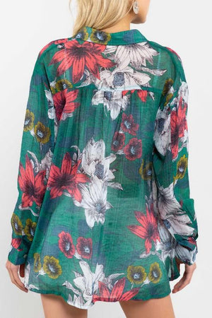 Tropical Sheer Button-Down Top