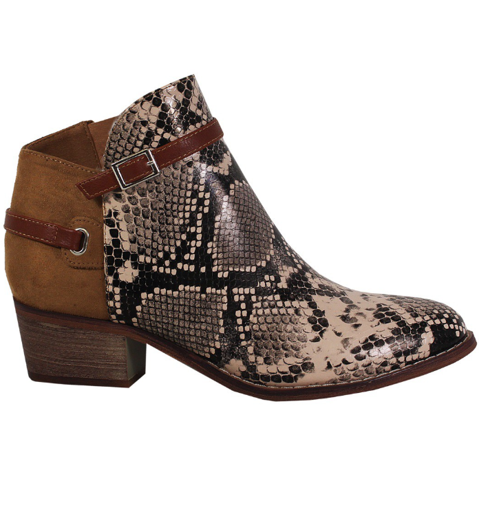 Faux Snake Skin Brown Booties