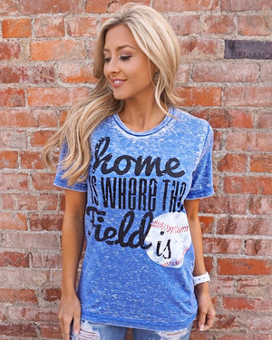 Baseball – Home Is Where the Field Is® – Blue Acid Wash Tee - Live Love Gameday®