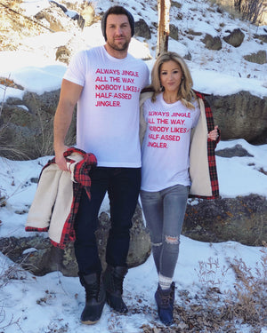 Always Jingle All The Way White & Red Unisex Tee - Live Love Gameday®