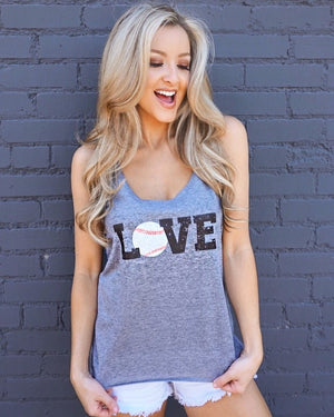 72-Hour Throwback Sale – LOVE – Racerback Tank – Gray - Live Love Gameday®