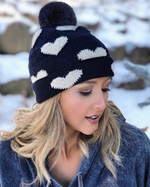 Live Love Gameday® Knit Heart Beanie With Pom