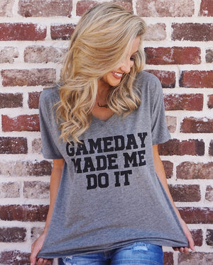 Game Day Made Me Do It – Slouchy Tee – Dark Gray