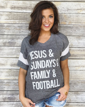 Football – Jesus & Sundays & Family & Football™ – Vintage Gray Football Jersey - Live Love Gameday®