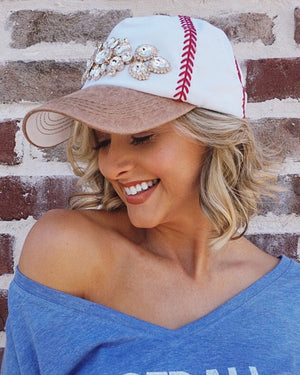 Crystal Embroidered Baseball Cap (Camel) - Live Love Gameday®