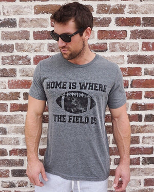 Gray Football Tee - Men's - Home Is Where the Field Is