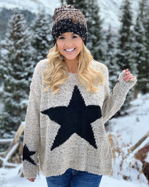 Star Pattern Knit Graphic Sweater