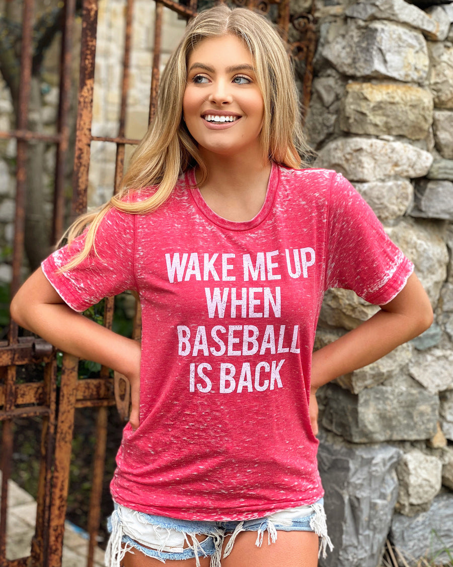 Wake Me Up When Baseball Is Back Super Soft Red Acid-Wash Tee