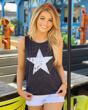 Vintage Gray Distressed Star Muscle Tank