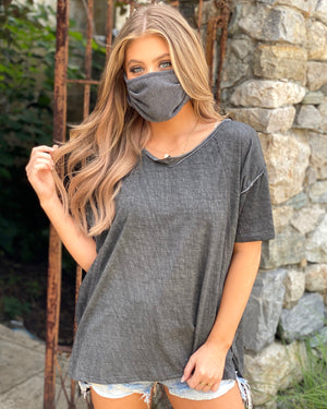 Charcoal Boxy Fit Casual Top With Raw Hem