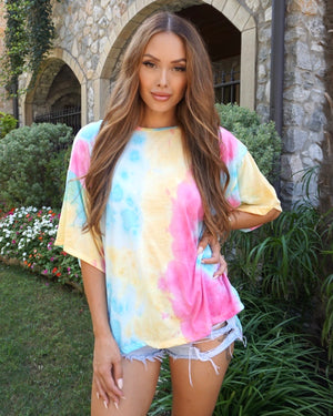 Bright Yellow/Pink Crinkle Tie Dye Oversized Knit Top