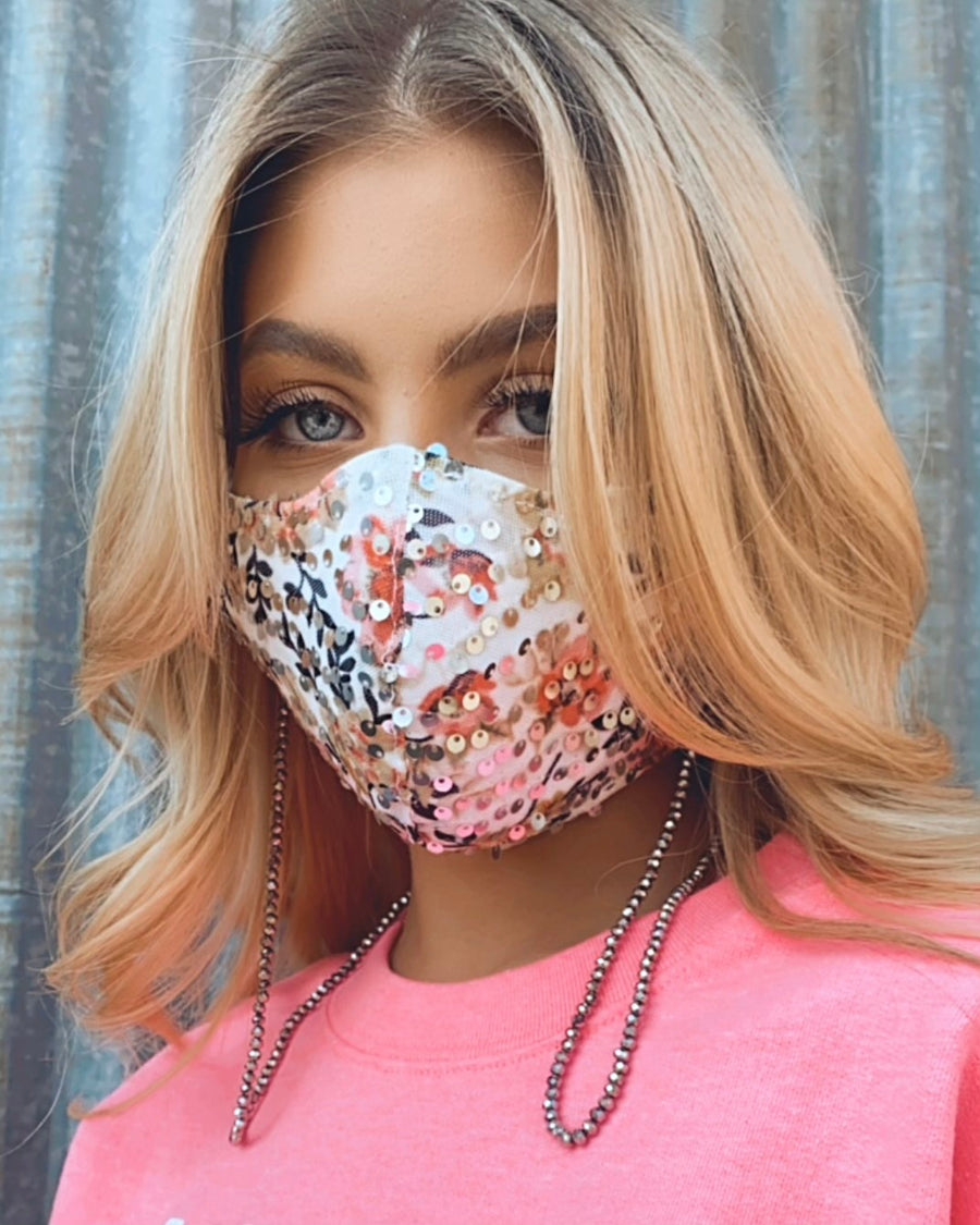 Floral Sequin Mask