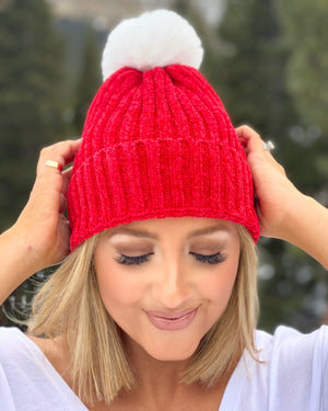 Santa Red Women's Chenille Faux Fur Pom Beanie