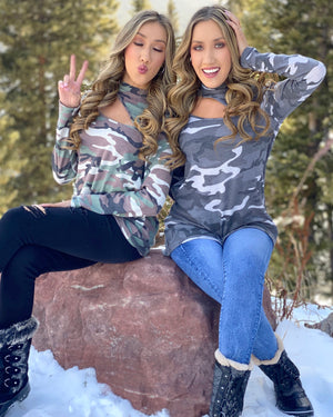 Charcoal Gray Cut-Out Thermal Camo Long-Sleeve Top