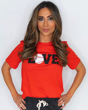 Baseball LOVE Bright Red Tee