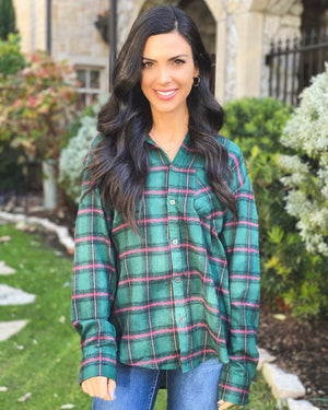 Festive Deep Green Soft Boyfriend Flannel