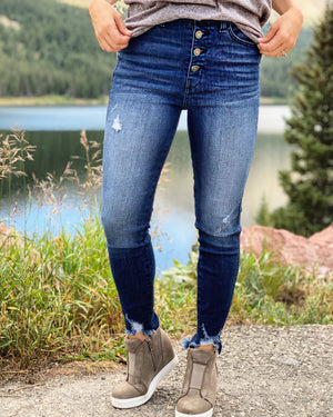 4-Button Frayed Top Distressed Jeans - Live Love Gameday®