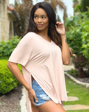 Dusty Blush Luxe Rayon Softest Ever Slouchy Side-Slit Top