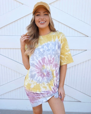 Mauve & Mustard Swirl Tie-Dye T-Shirt Dress