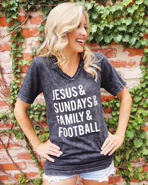 Jesus & Sundays & Family & Football Mineral-Dipped Tee