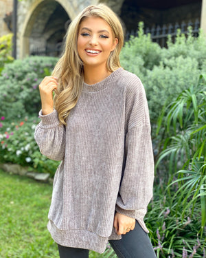 Taupe Chenille Banded Sweater