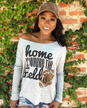 Home Is Where The Field Is Football Flowy Long-Sleeve Top