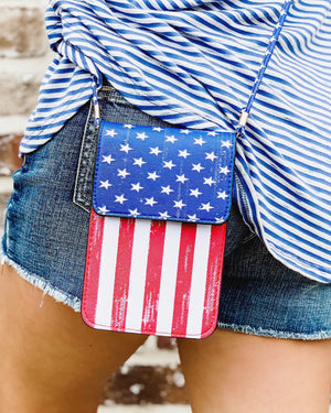 American Flag Crossbody With Cellphone Texting Clear Pouch - Live Love Gameday®