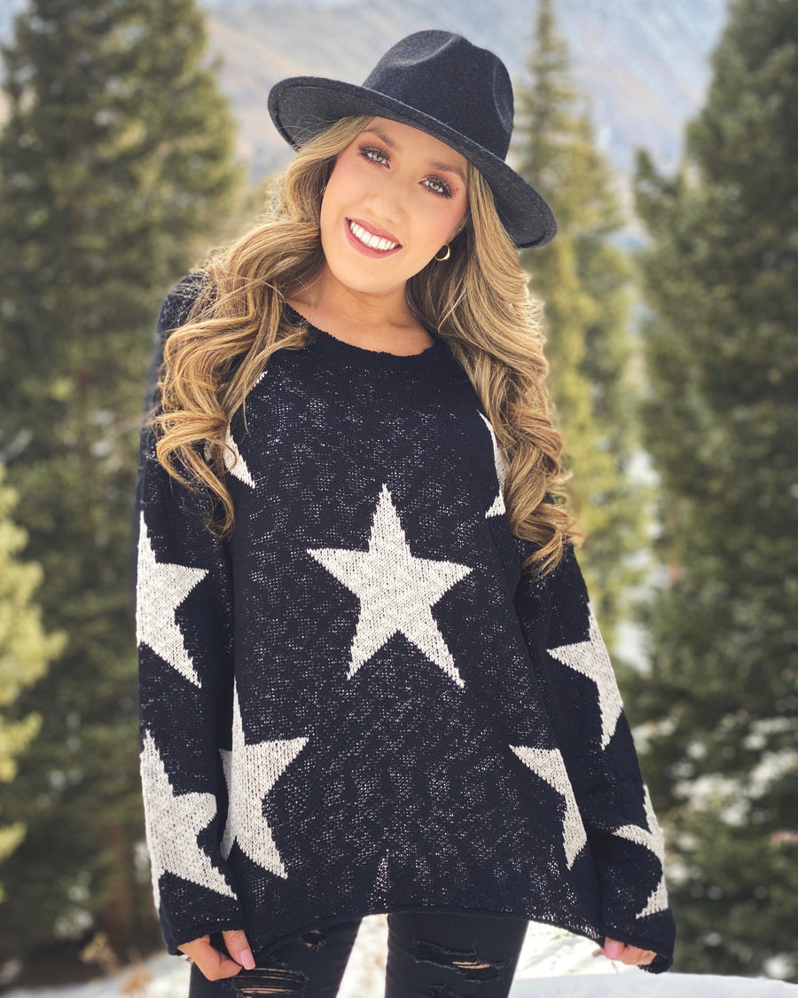 Black Star Knit Sweater