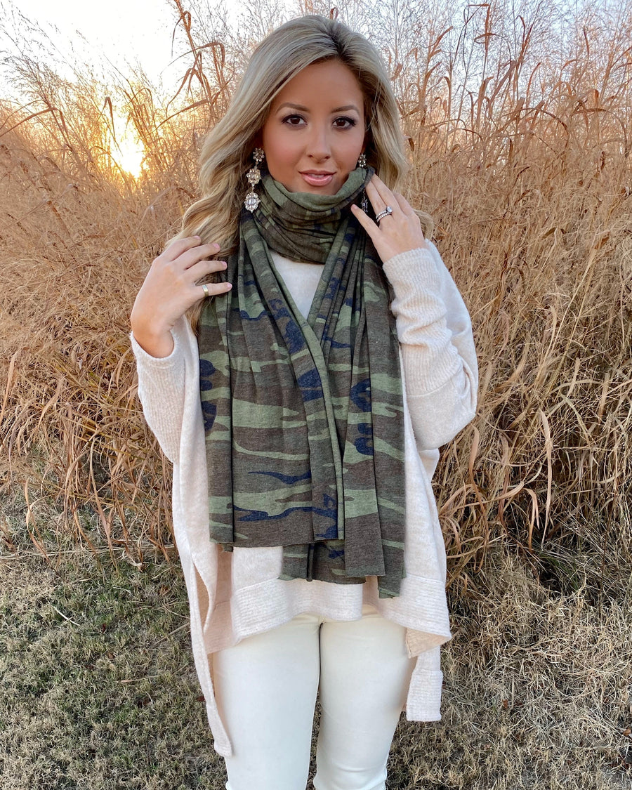 "Top Seller: Green Camo ""Bundle Up"" Super Soft T-Shirt Scarf"