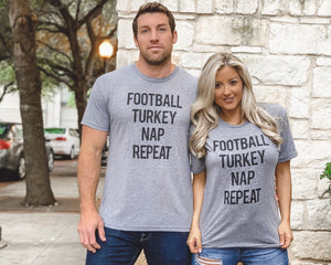 Football – Football Turkey Nap Repeat – Unisex Tee - Live Love Gameday®