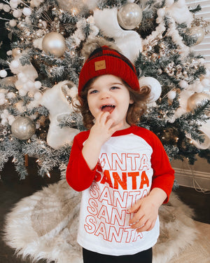 Santa Santa Santa 3/4 Sleeve Baseball Tee (Toddler & Youth)