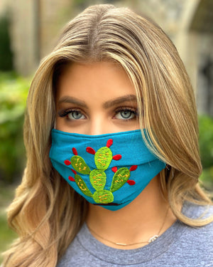 Green Cactus Embroidered Mask