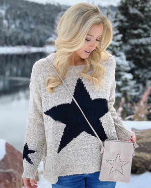 Faux Leather Star Crossbody