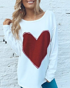 Heart Applique Waffle Long-Sleeve