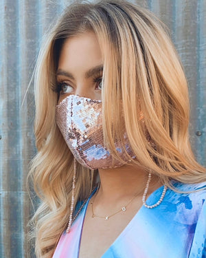Blush Pink Beaded Mask Chain Holder