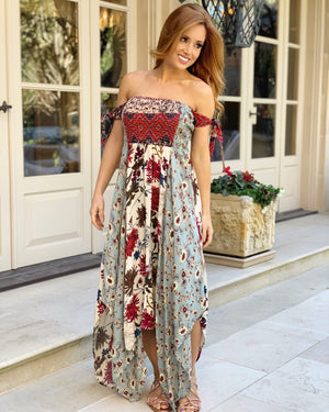 Ivory Multi-Floral Print Smocked Tube Top Asymmetrical Maxi Dress with Sleeve Ties