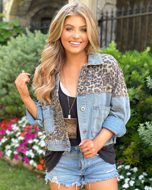Must-Have Leopard Denim Semi-Cropped Jacket